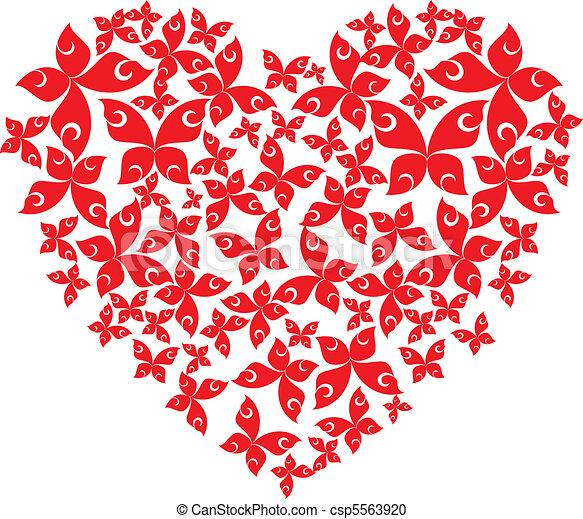 Heart from flying butterflies - csp5563920