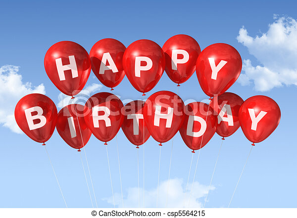 Red Happy Birthday balloons in the sky - csp5564215