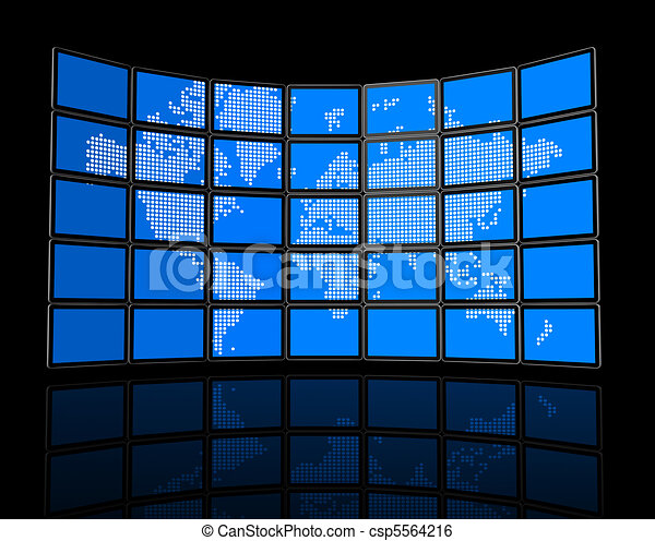Video wall of flat tv screens with world map - csp5564216