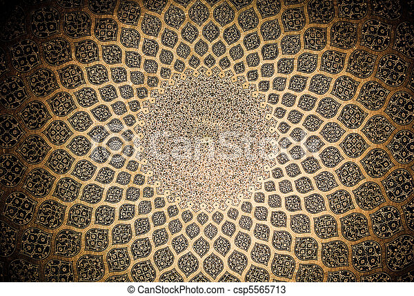 Dome of the mosque, oriental ornaments from Isfahan, Iran - csp5565713