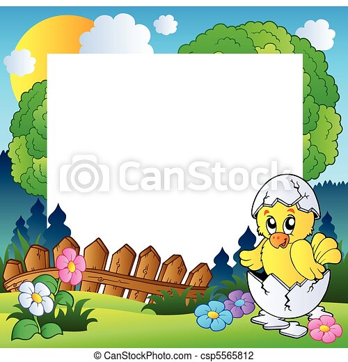 Easter frame with cute chicken - csp5565812