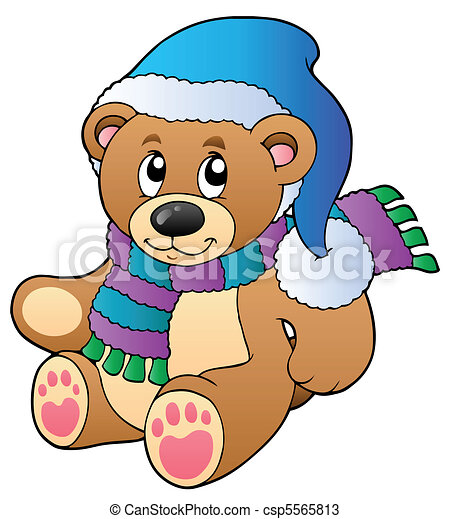 vectors of cute teddy bear in winter clothes vector. Black Bedroom Furniture Sets. Home Design Ideas