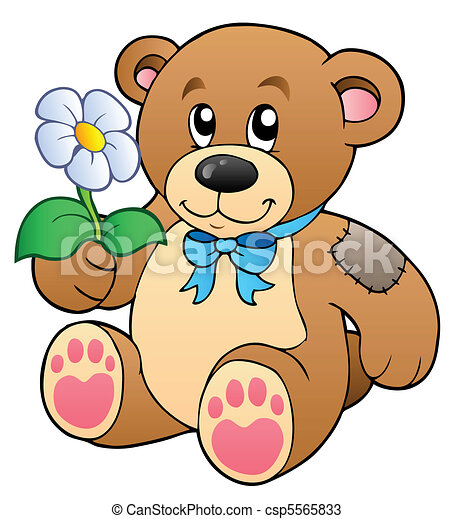 Cute teddy bear with flower - csp5565833