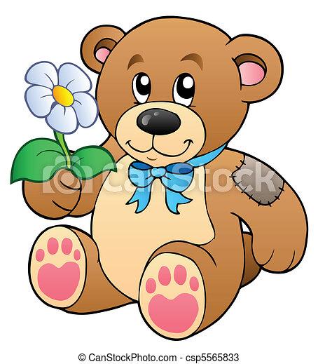 Cute teddy bear with flower - csp5565833