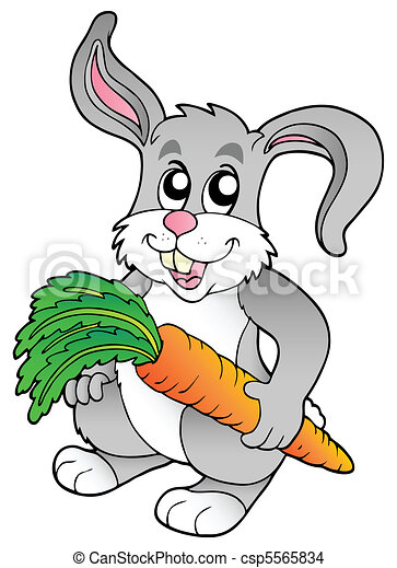 Cute bunny holding carrot - csp5565834
