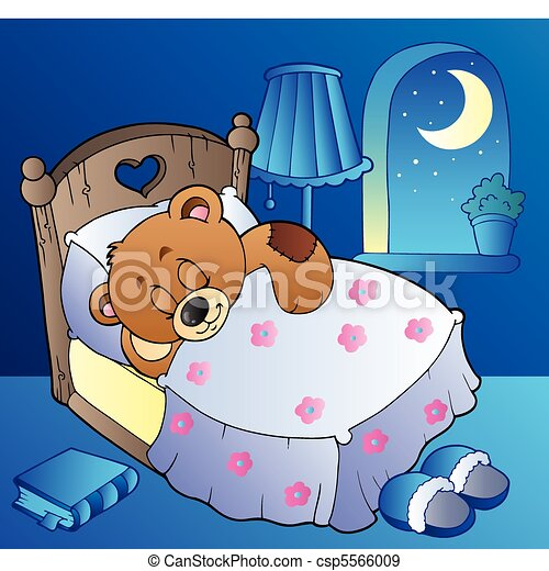 Sleeping teddy bear in bedroom - csp5566009