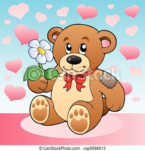 Vectors of Teddy bear with flower and hearts - vector ...