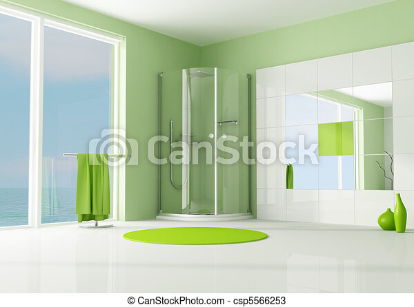 stock illustration gr n badezimmer mit kabine dusche stock illustration lizenzfreie. Black Bedroom Furniture Sets. Home Design Ideas