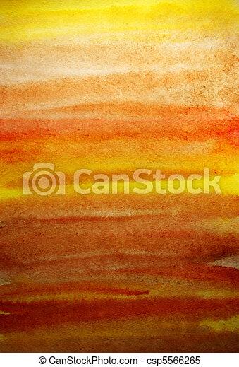 芸術, ペイントされた, 黄色, 手, 水彩画, デザイン, 背景, オレンジ - csp5566265