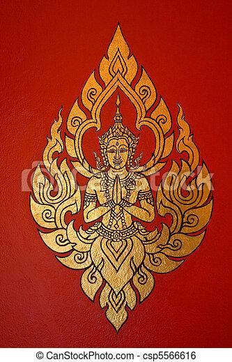 Thai Style Painting Art, Thailand - csp5566616