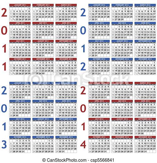 2011-2014 calendar templates - csp5566841