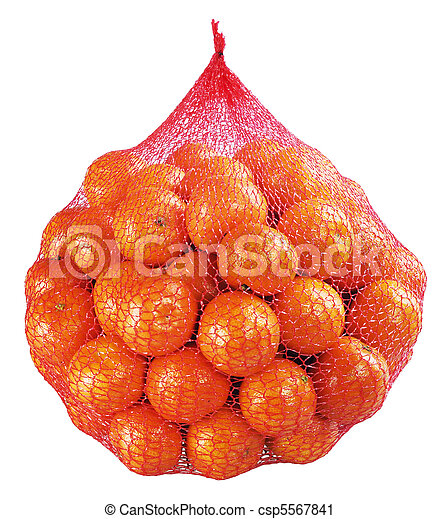 Tangerines, clementines bag on white - csp5567841