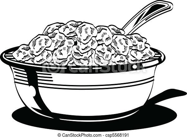 Schüssel clipart  Vektor Clipart von schüssel, spoon., getreide, milch - Breakfast ...
