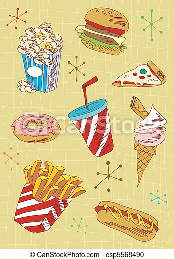 Grunge fast food icons set - csp5568490