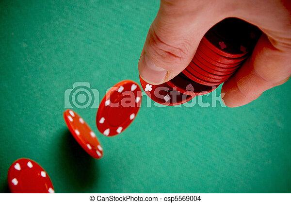 Gambling chips falling - csp5569004