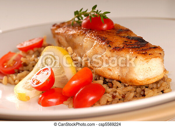 Halibut seared on a bed of brown rice - csp5569224