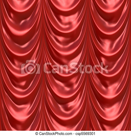 Red Curtain Drapery - csp5569301