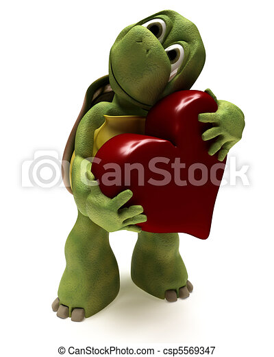 Tortoise Caricature hugging a heart - csp5569347