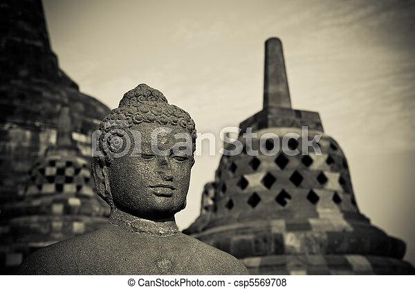 Buddha statue at Borobudur temple, Java, Indonesia - csp5569708