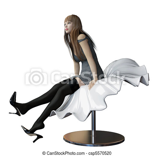 Sexy woman sitting in a futuristic bench - csp5570520