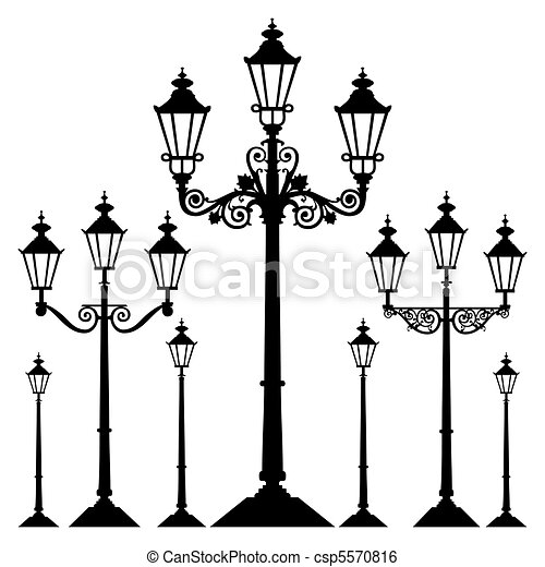 Vector retro street light - csp5570816