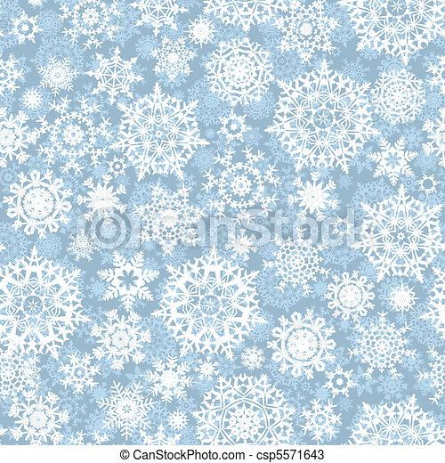 Seamless snow flakes vector pattern - csp5571643
