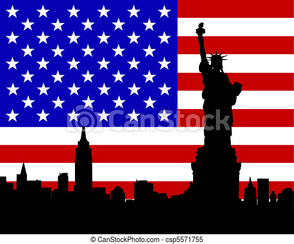 Flag and statue - csp5571755
