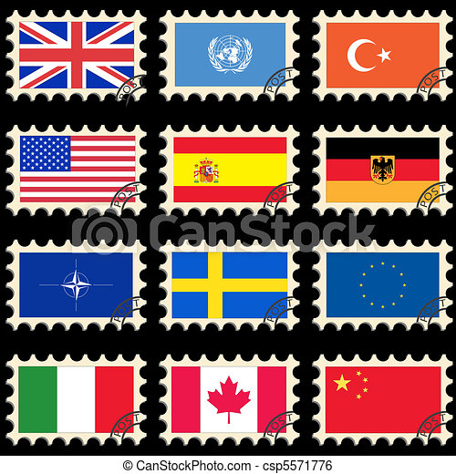 Flags on the post stamps - csp5571776
