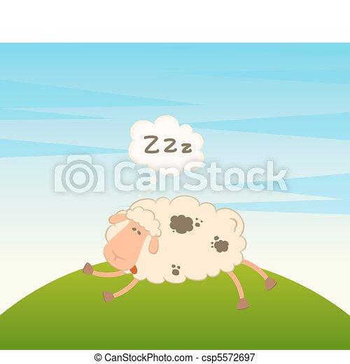 cartoon sheep sleeps on a grass - csp5572697