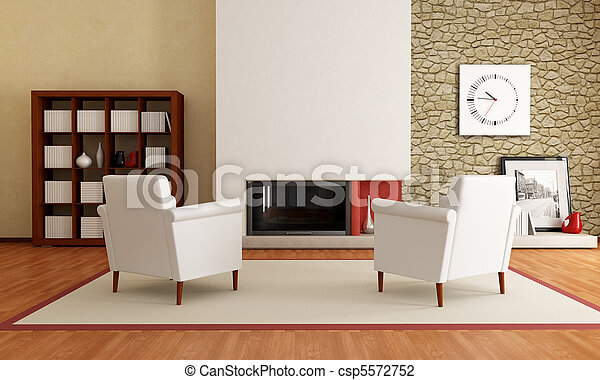 modern living room with fireplace - csp5572752