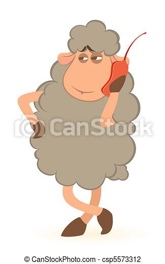 cartoon sheep speaks by phone - csp5573312