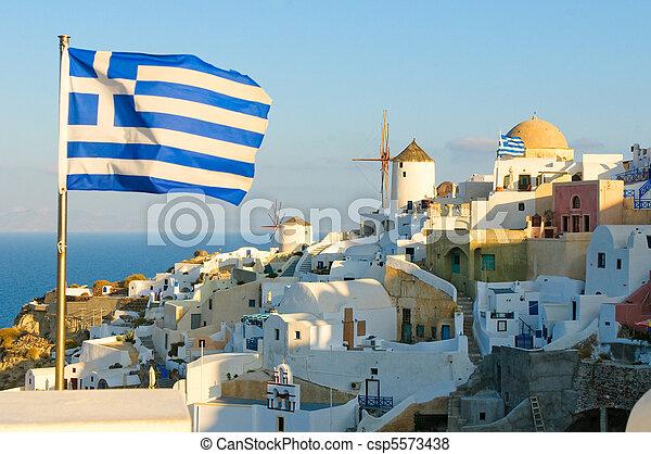 Oia village at Santorini island, Greece - csp5573438