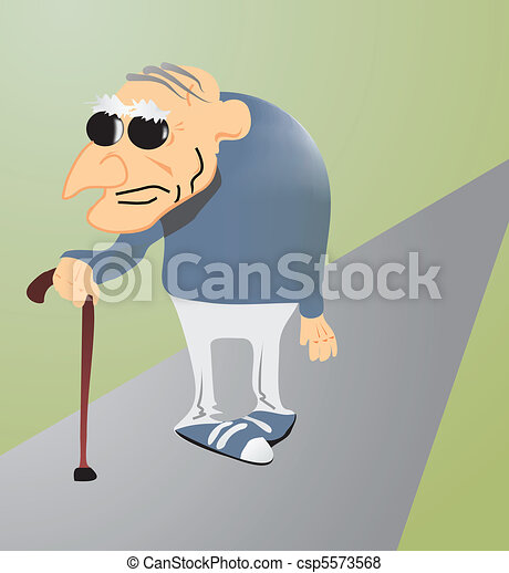 Grandfather with stick - csp5573568