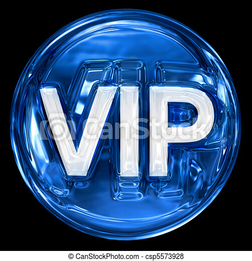VIP icon blue, isolated on black background. - csp5573928