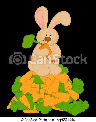 cartoon little toy bunny with carro - csp5574046