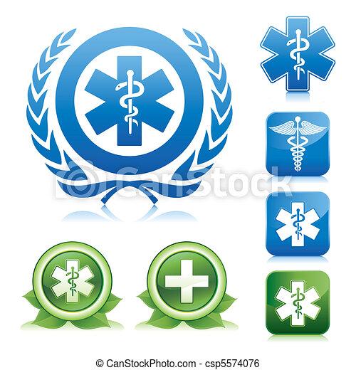 medical caduceus and asclepius sign - csp5574076