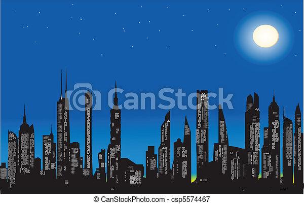 vectors illustration of modern city at night csp5574467