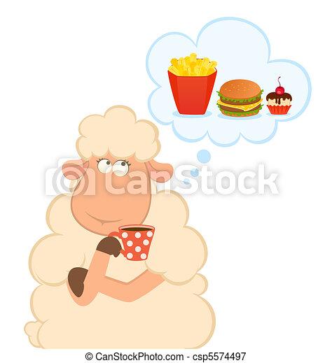 mouton, pense, sur, nuisible,  fastfood - csp5574497