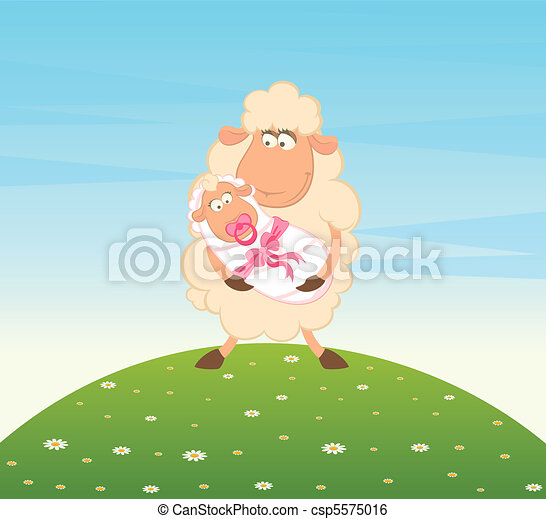 sheep mother with infant baby - csp5575016