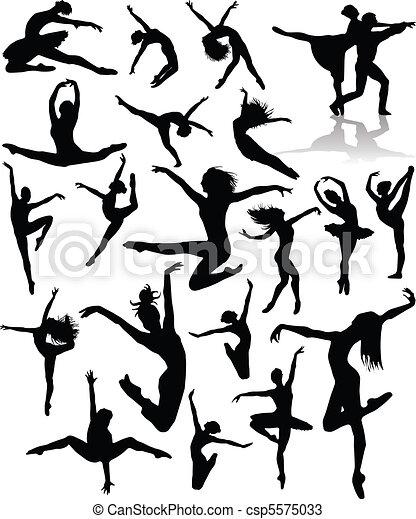 Set Dance girl ballet silhouettes v - csp5575033