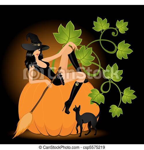 sexual witch sits on a pumpkin - csp5575219