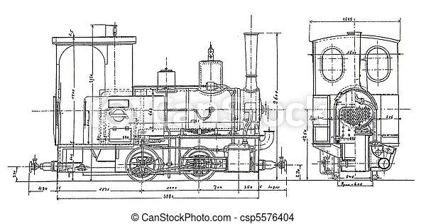 plan of vintage steam-engine
