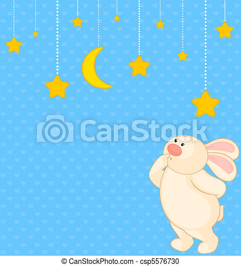 cartoon little toy bunny with stars - csp5576730
