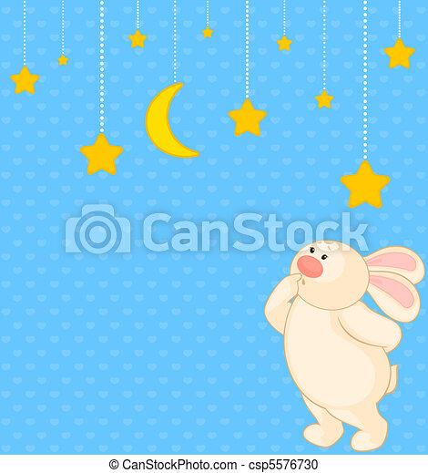 cartoon little toy bunny with stars - csp5576730