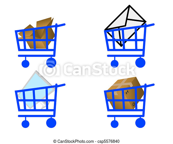 Vector Clipart of Handcart and commodity - Handcart and different ...