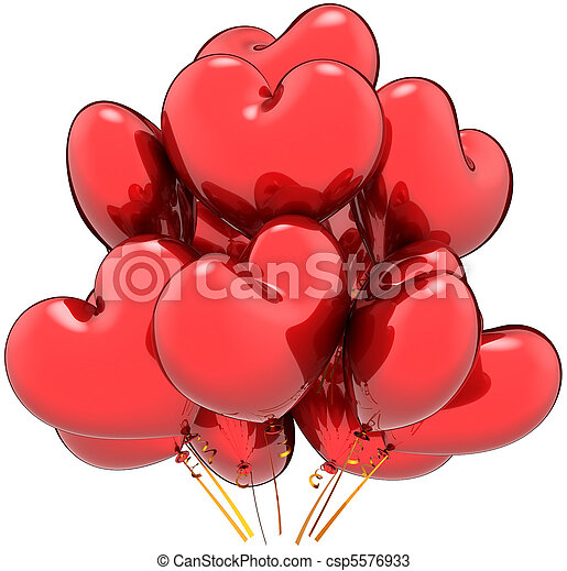 Love party balloons heart shaped - csp5576933