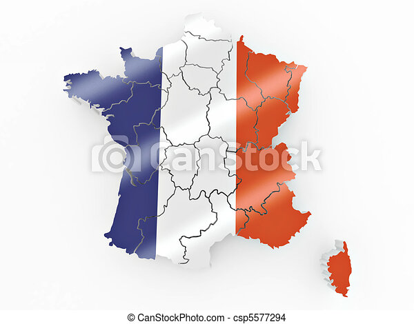Map of France in French flag colors - csp5577294