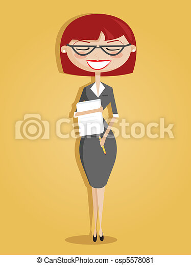 Retro cartoon secretary - csp5578081