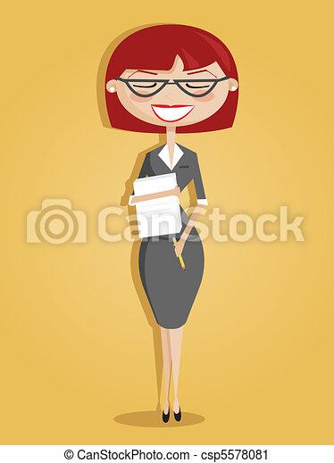 Retro cartoon secretary - csp5578081