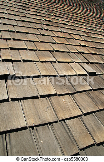old wooden roof shingles - csp5580003